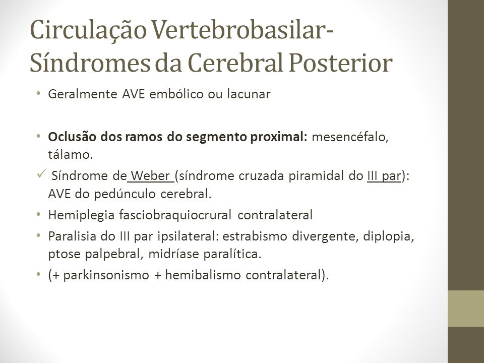 Circulação Vertebrobasilar- Síndromes da Cerebral Posterior