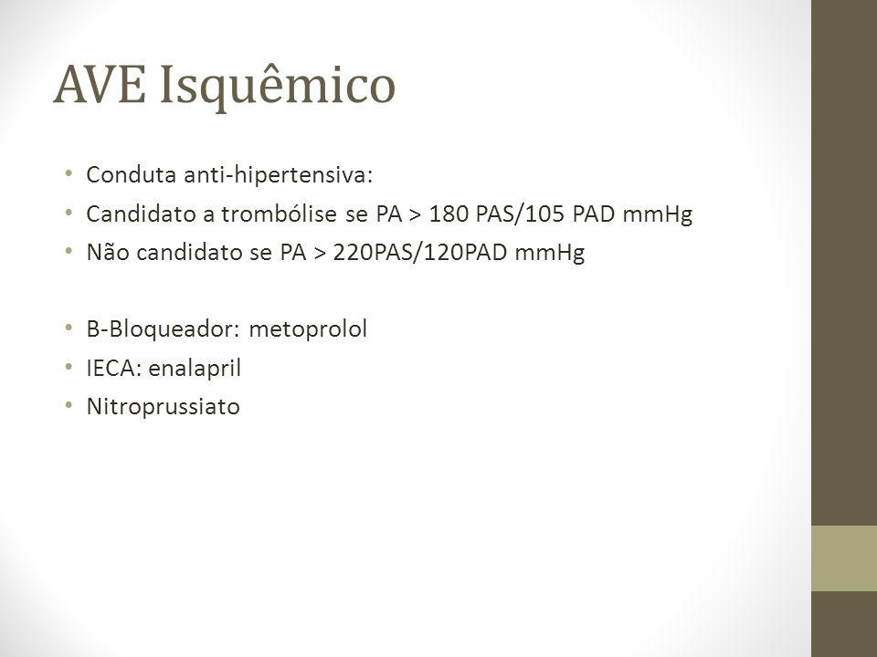 AVE Isquêmico Conduta anti-hipertensiva: