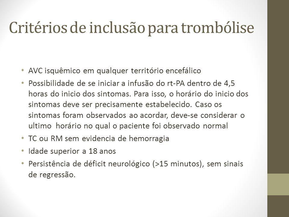 Critérios de inclusão para trombólise