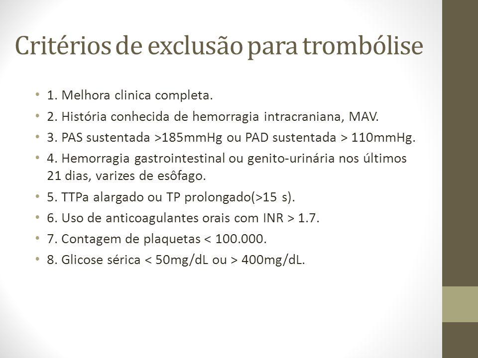 Critérios de exclusão para trombólise