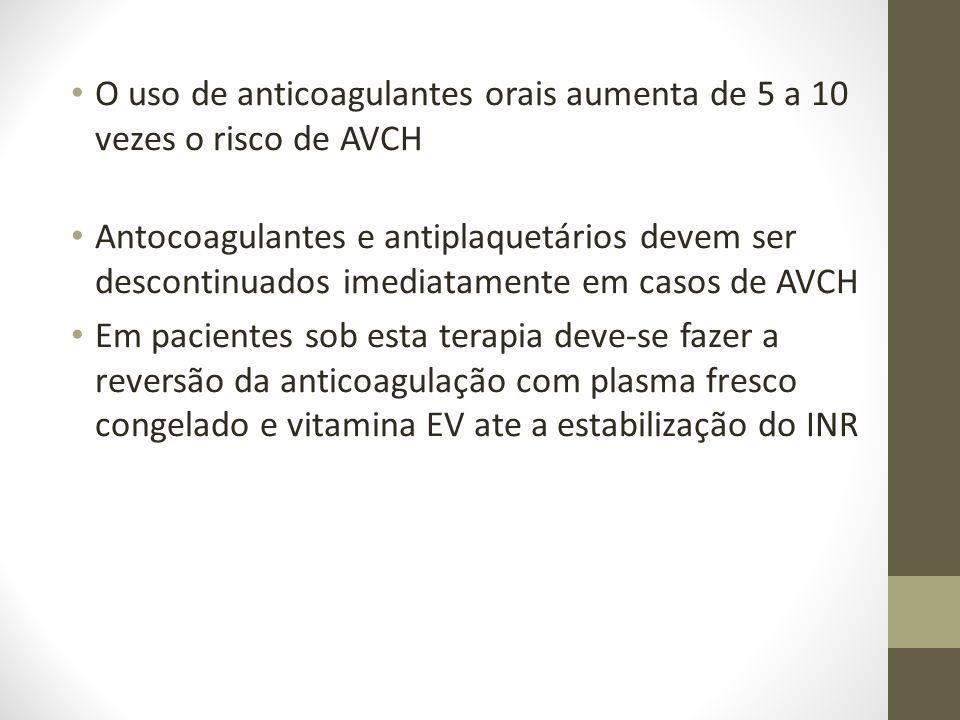 O uso de anticoagulantes orais aumenta de 5 a 10 vezes o risco de AVCH