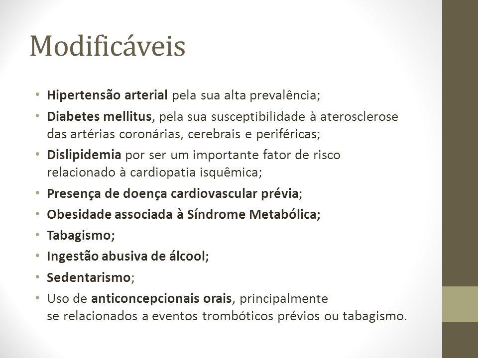 Modificáveis Hipertensão arterial pela sua alta prevalência;