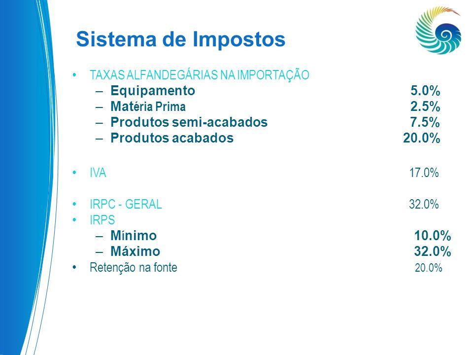 Sistema de Impostos TAXAS ALFANDEGÁRIAS NA IMPORTAÇÃO Equipamento 5.0%