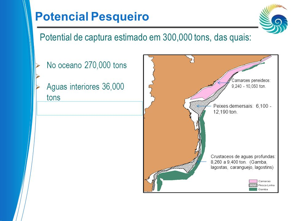 Potencial Pesqueiro Potential de captura estimado em 300,000 tons, das quais: No oceano 270,000 tons.