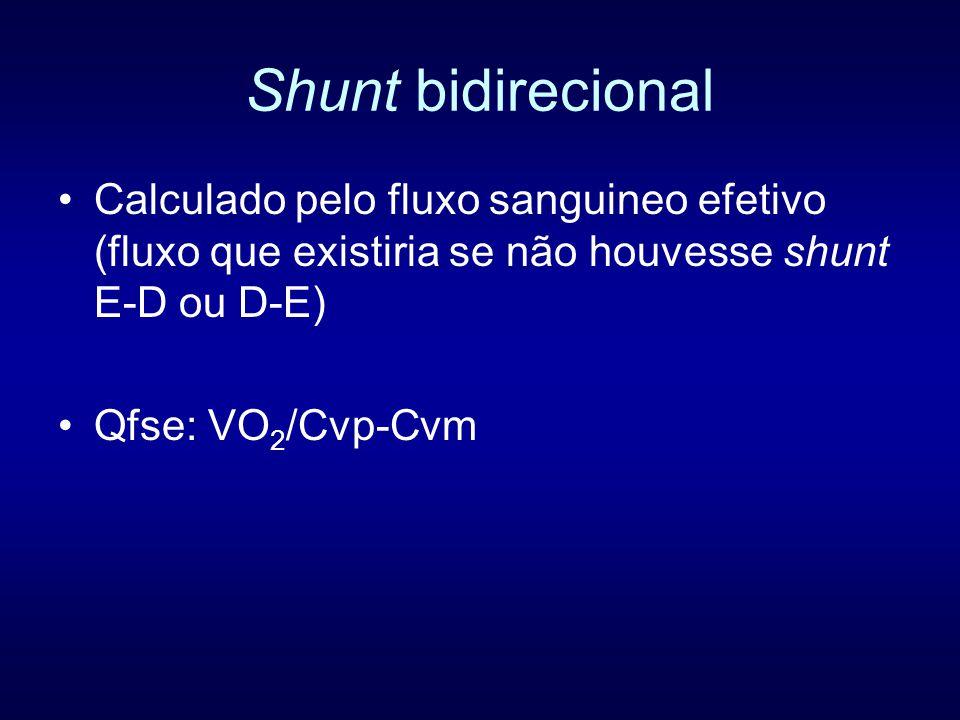 Shunt bidirecional Calculado pelo fluxo sanguineo efetivo (fluxo que existiria se não houvesse shunt E-D ou D-E)