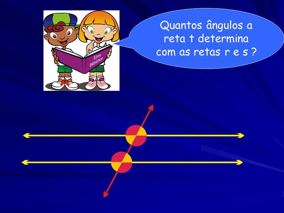 Quantos ângulos a reta t determina com as retas r e s