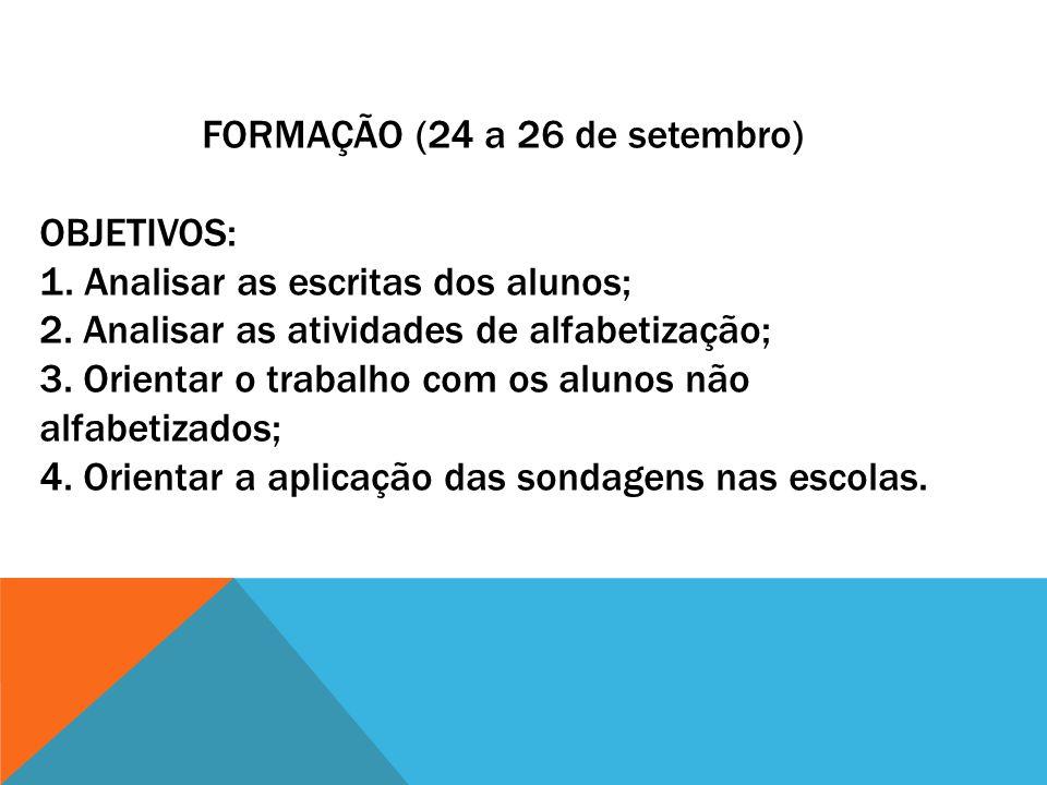 FORMAÇÃO (24 a 26 de setembro) ObjetivoS: 1