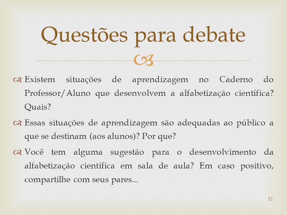 Questões para debate Existem situações de aprendizagem no Caderno do Professor/Aluno que desenvolvem a alfabetização científica Quais