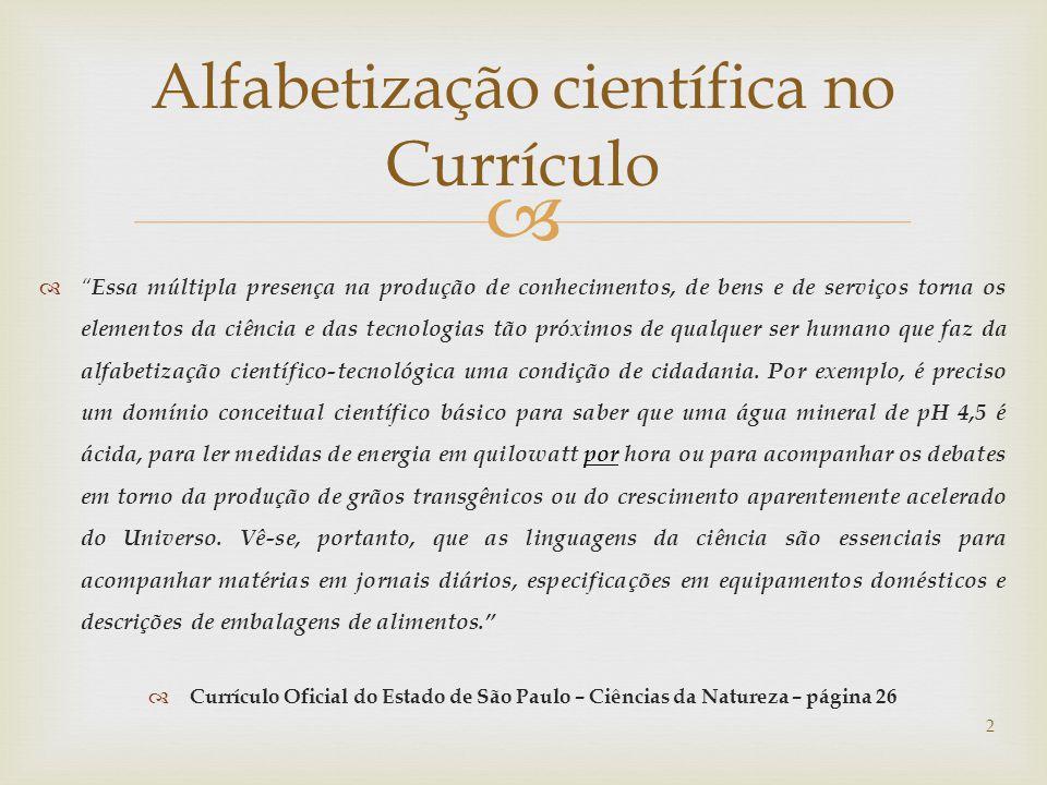 Alfabetização científica no Currículo