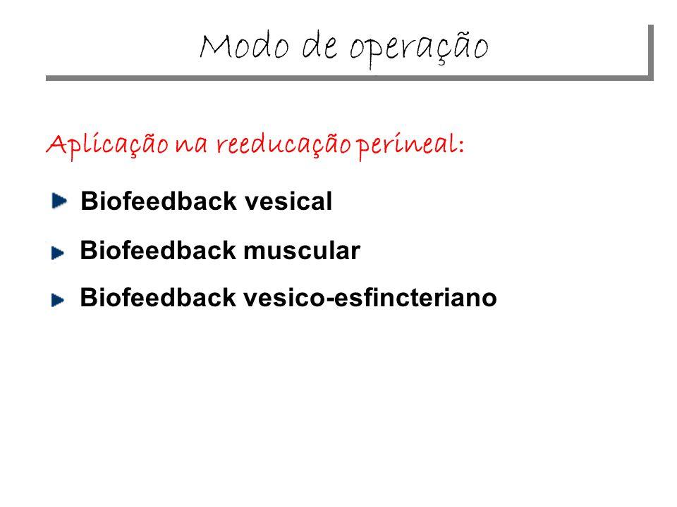 Modo de operação Aplicação na reeducação perineal: Biofeedback vesical