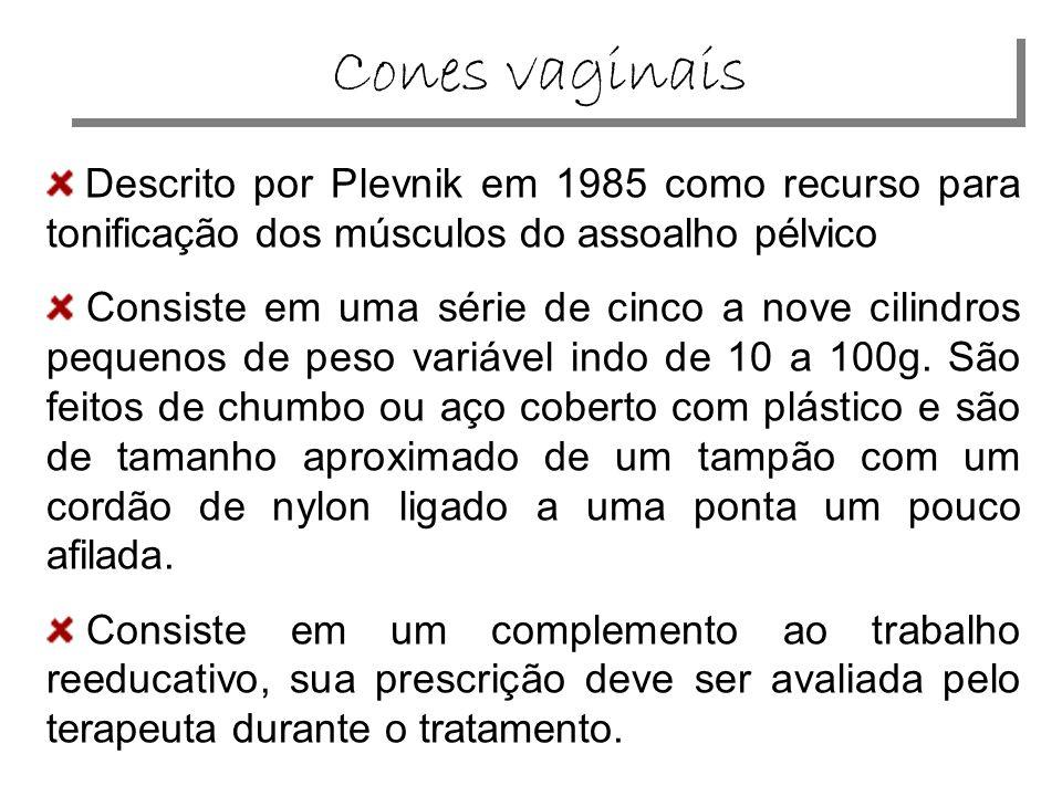 Cones vaginais Descrito por Plevnik em 1985 como recurso para tonificação dos músculos do assoalho pélvico.