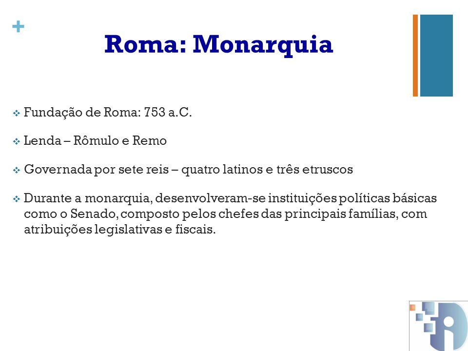 Roma: Monarquia Fundação de Roma: 753 a.C. Lenda – Rômulo e Remo