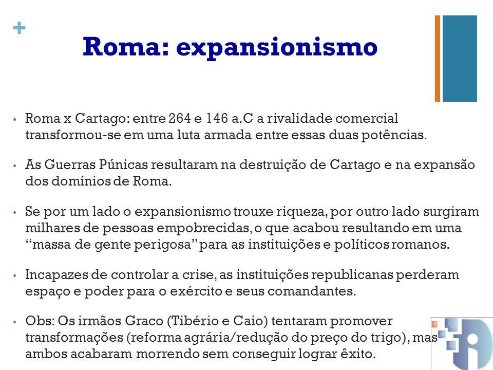 Roma: expansionismo Roma x Cartago: entre 264 e 146 a.C a rivalidade comercial transformou-se em uma luta armada entre essas duas potências.