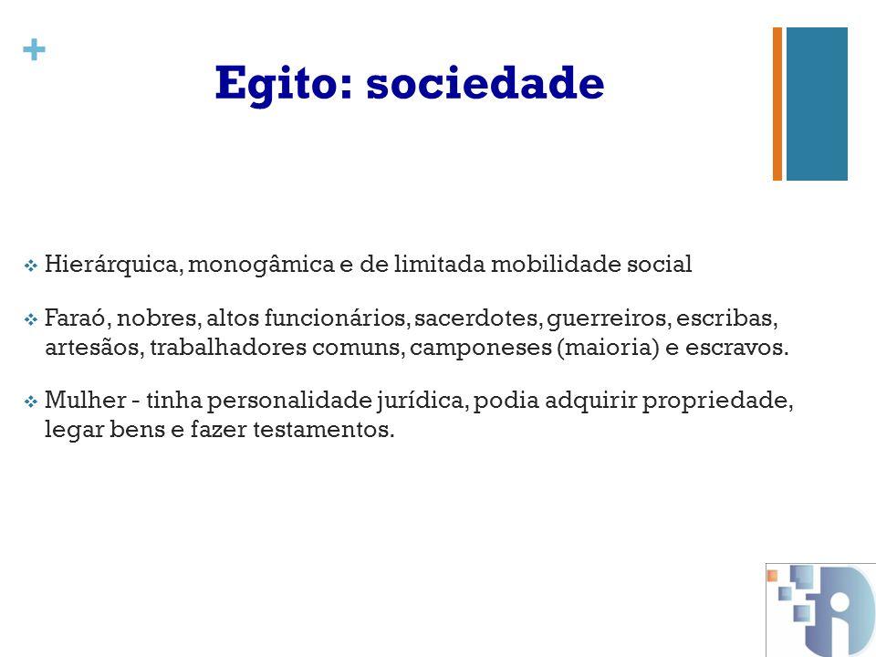 Egito: sociedade Hierárquica, monogâmica e de limitada mobilidade social.