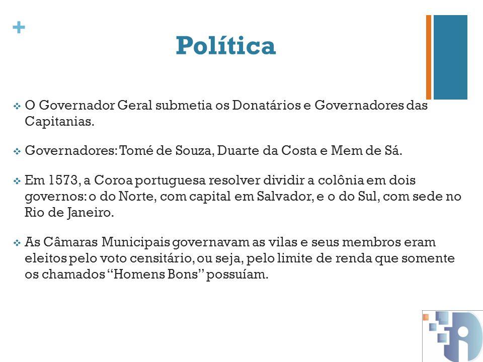 Política O Governador Geral submetia os Donatários e Governadores das Capitanias. Governadores: Tomé de Souza, Duarte da Costa e Mem de Sá.