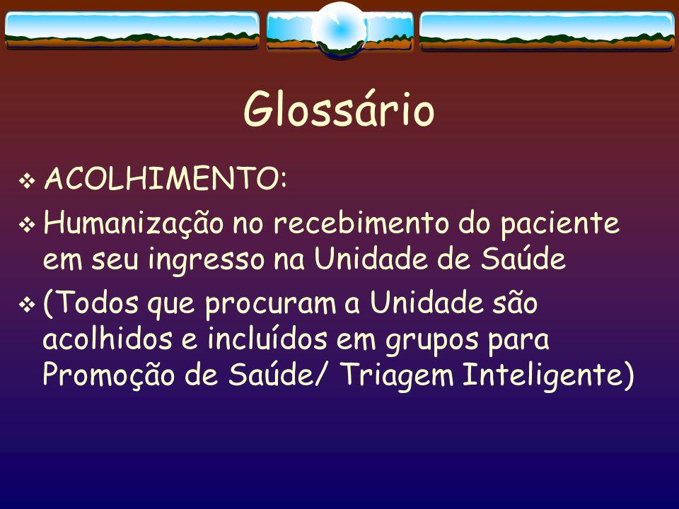 Glossário ACOLHIMENTO: