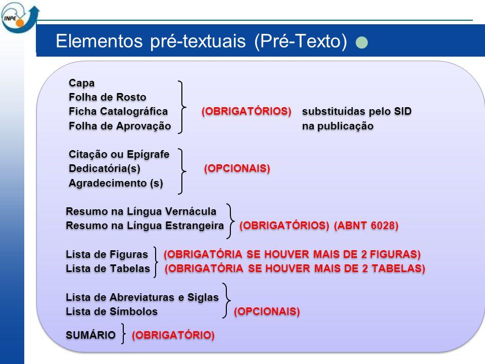 Elementos pré-textuais (Pré-Texto)