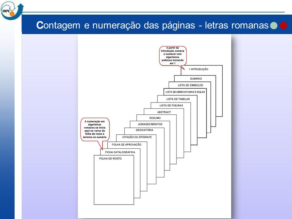 Contagem e numeração das páginas - letras romanas