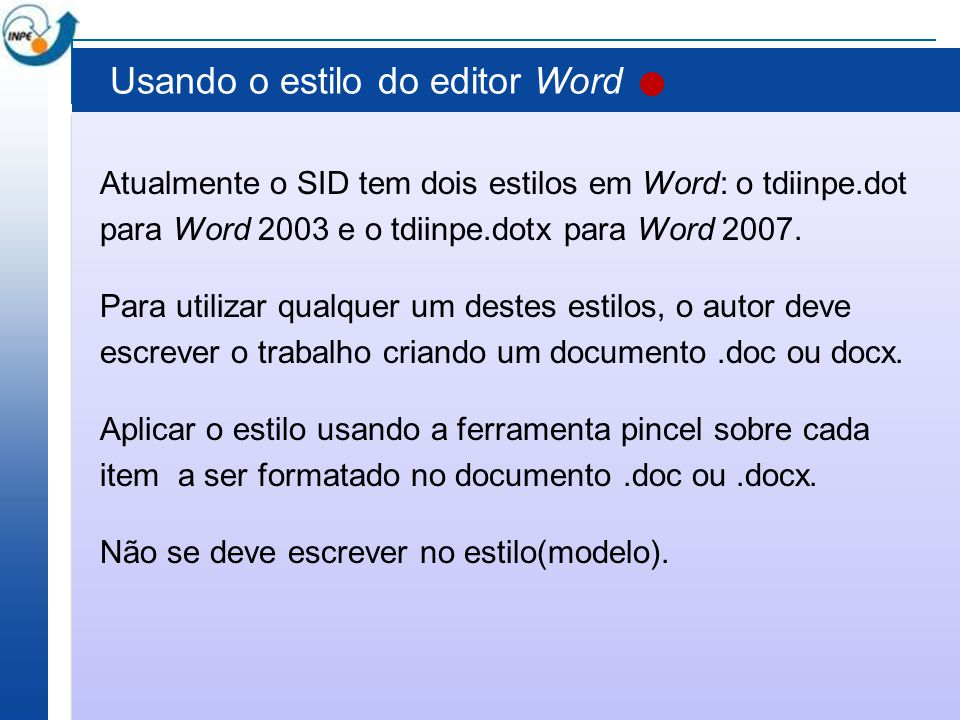Usando o estilo do editor Word
