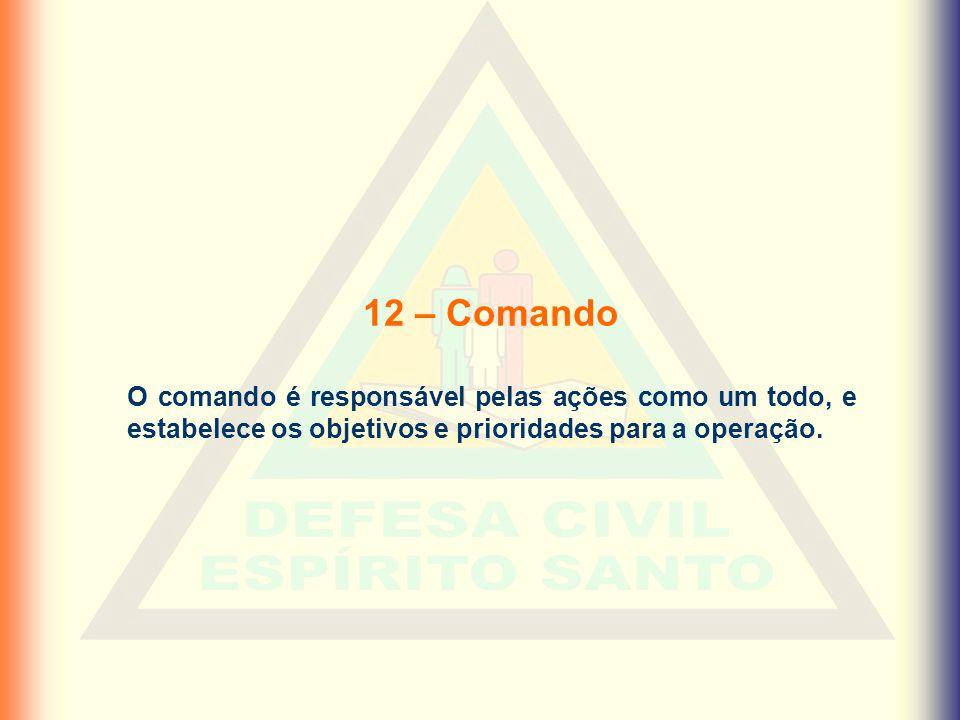 12 – Comando O comando é responsável pelas ações como um todo, e estabelece os objetivos e prioridades para a operação.