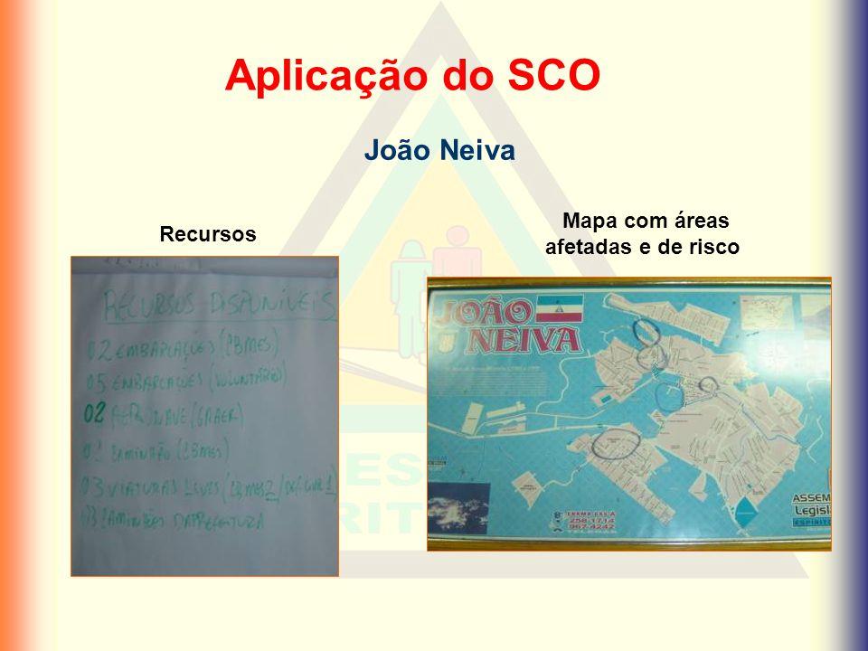 Mapa com áreas afetadas e de risco