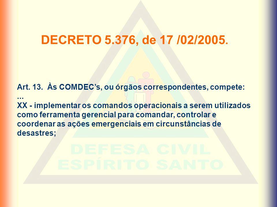 DECRETO 5.376, de 17 /02/2005. Art. 13. Às COMDEC's, ou órgãos correspondentes, compete: ...