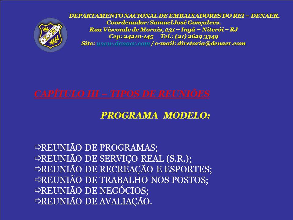 CAPÍTULO III – TIPOS DE REUNIÕES PROGRAMA MODELO: