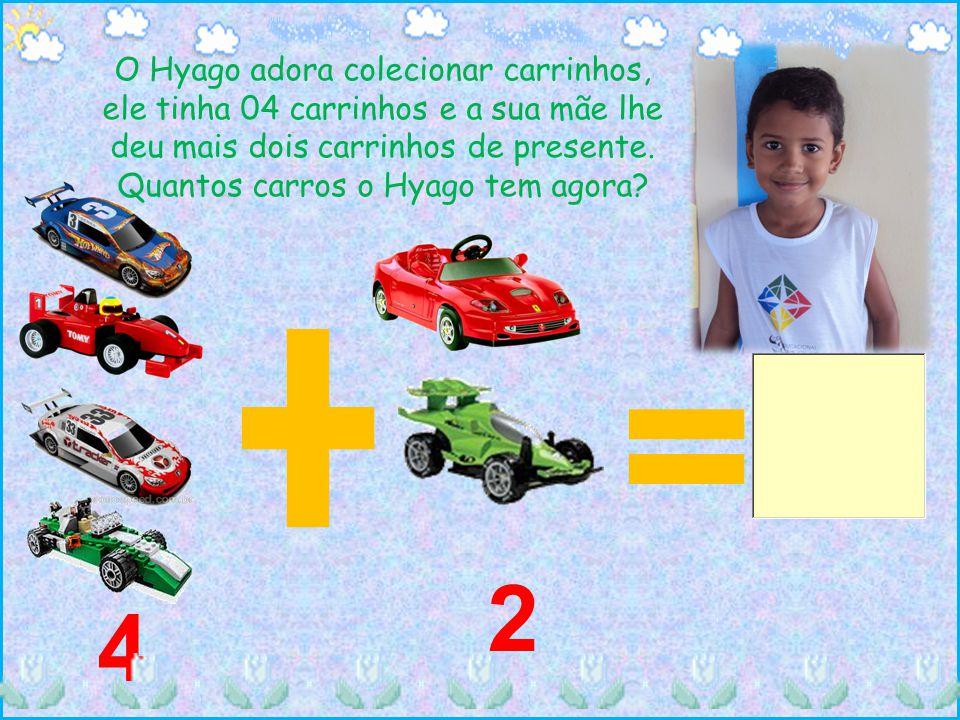 O Hyago adora colecionar carrinhos, ele tinha 04 carrinhos e a sua mãe lhe deu mais dois carrinhos de presente. Quantos carros o Hyago tem agora