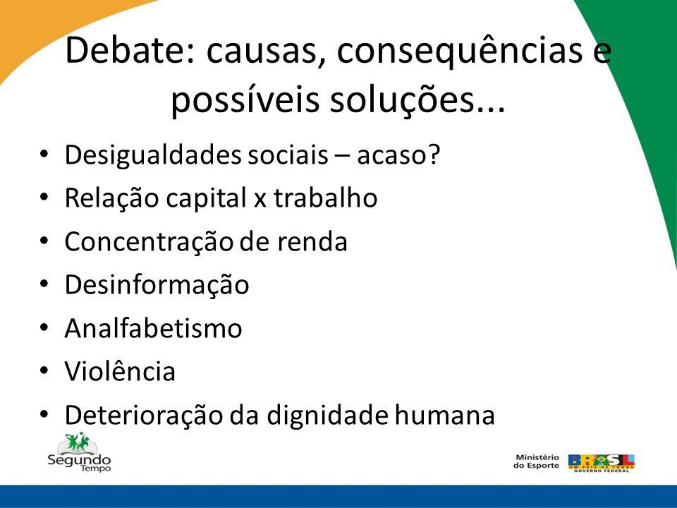 Debate: causas, consequências e possíveis soluções...