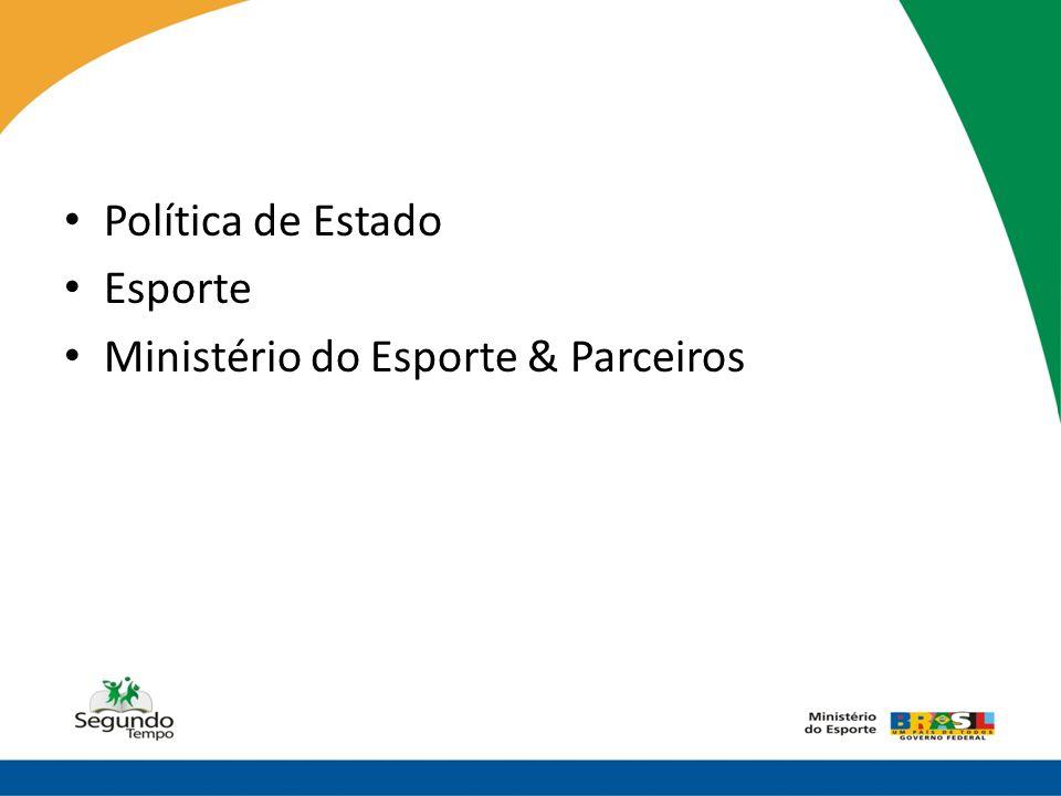 Política de Estado Esporte Ministério do Esporte & Parceiros