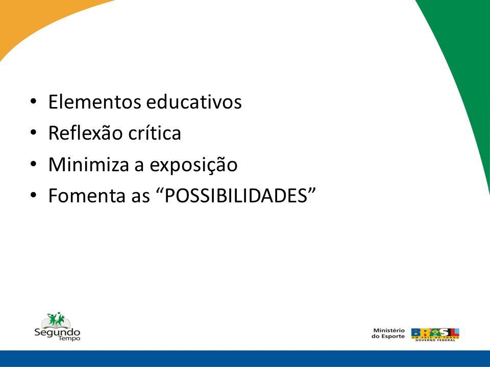 Elementos educativos Reflexão crítica Minimiza a exposição Fomenta as POSSIBILIDADES