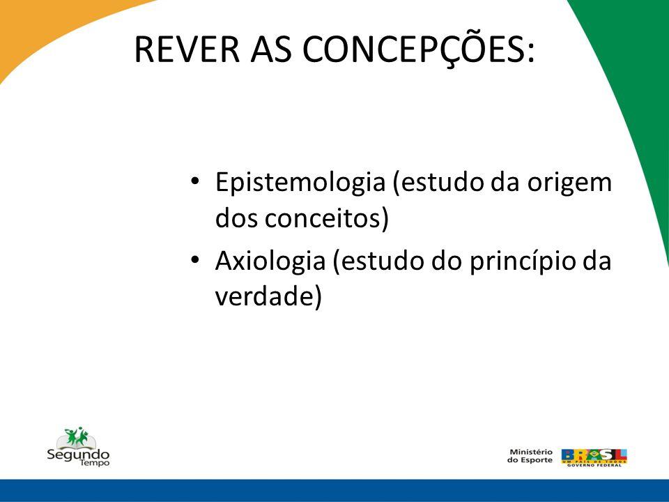 REVER AS CONCEPÇÕES: Epistemologia (estudo da origem dos conceitos)