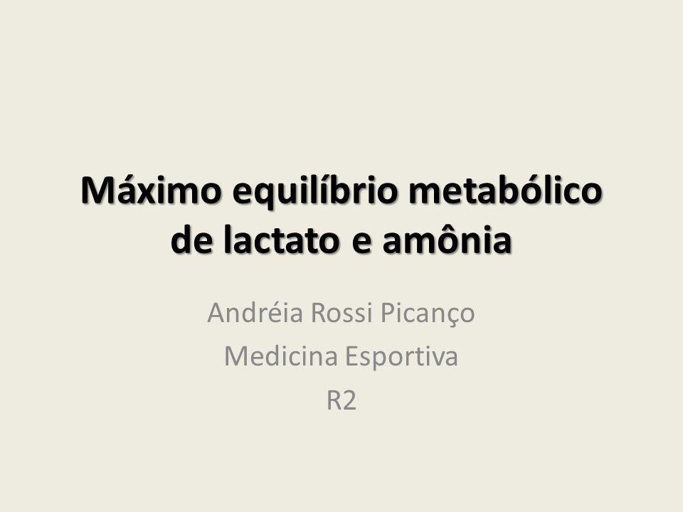 Máximo equilíbrio metabólico de lactato e amônia