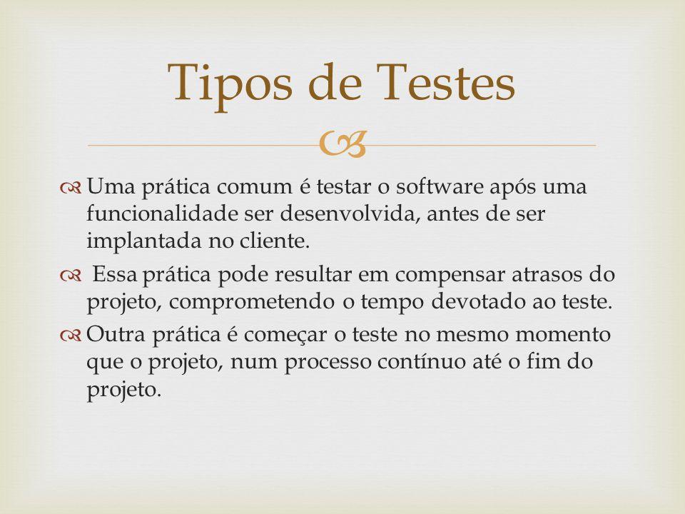 Tipos de Testes Uma prática comum é testar o software após uma funcionalidade ser desenvolvida, antes de ser implantada no cliente.