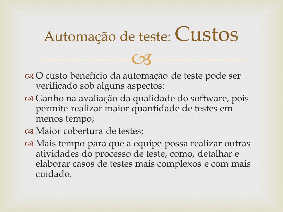 Automação de teste: Custos