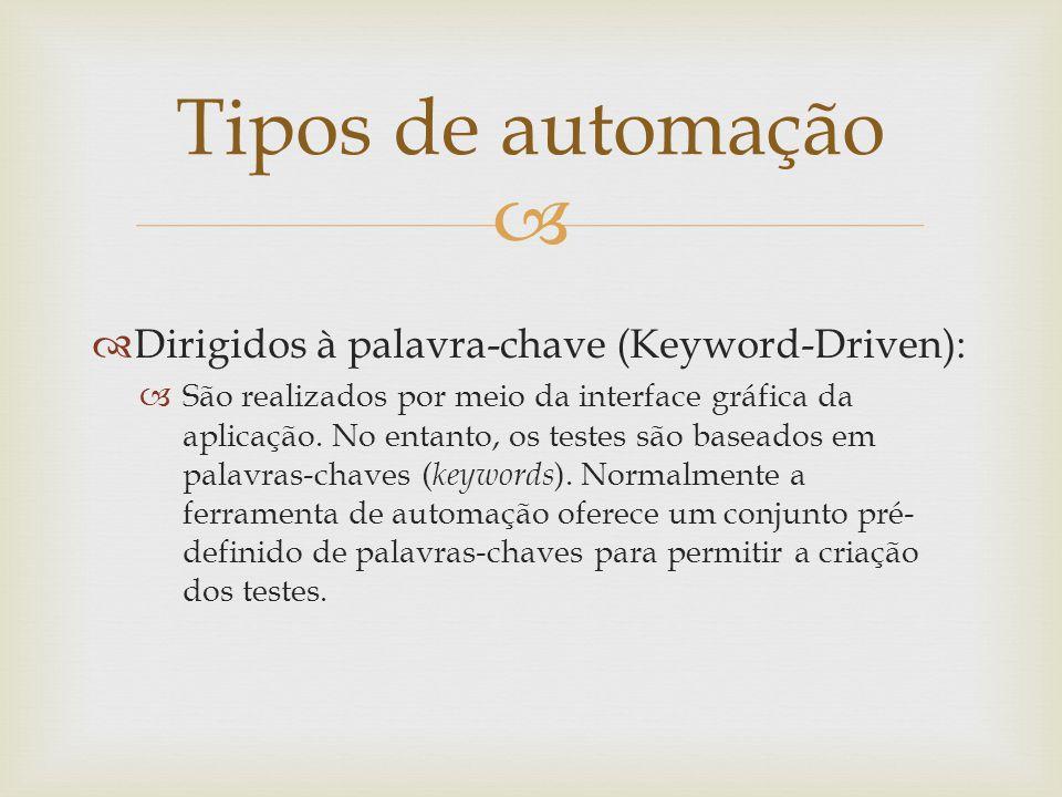 Tipos de automação Dirigidos à palavra-chave (Keyword-Driven):
