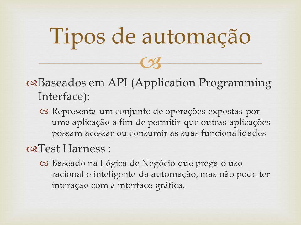 Tipos de automação Baseados em API (Application Programming Interface):
