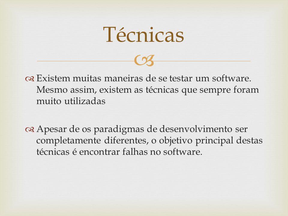 Técnicas Existem muitas maneiras de se testar um software. Mesmo assim, existem as técnicas que sempre foram muito utilizadas.