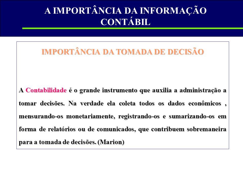 A IMPORTÂNCIA DA INFORMAÇÃO CONTÁBIL IMPORTÂNCIA DA TOMADA DE DECISÃO