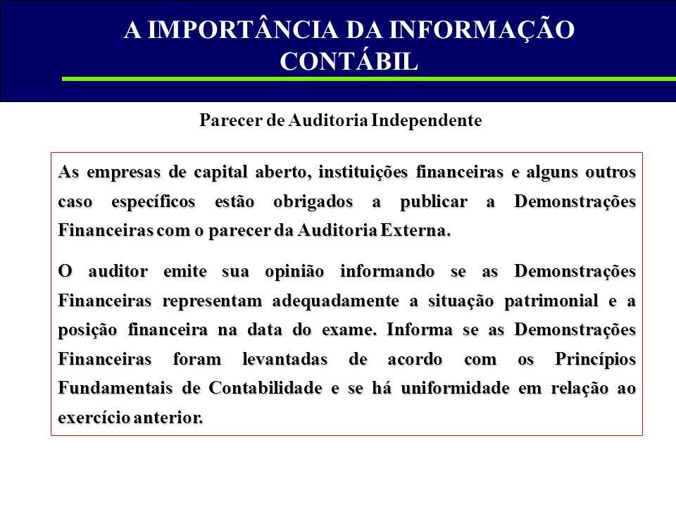 A IMPORTÂNCIA DA INFORMAÇÃO CONTÁBIL Parecer de Auditoria Independente