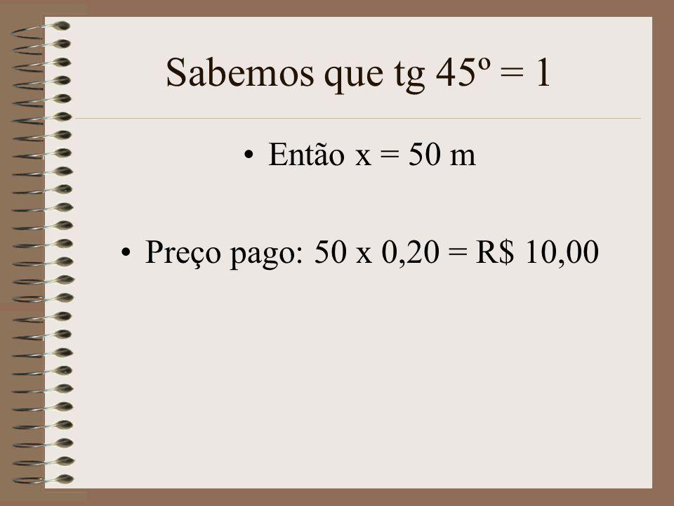 Sabemos que tg 45º = 1 Então x = 50 m Preço pago: 50 x 0,20 = R$ 10,00