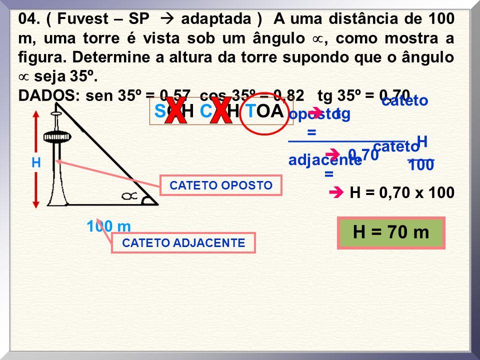 04. ( Fuvest – SP  adaptada ) A uma distância de 100 m, uma torre é vista sob um ângulo , como mostra a figura. Determine a altura da torre supondo que o ângulo  seja 35º.