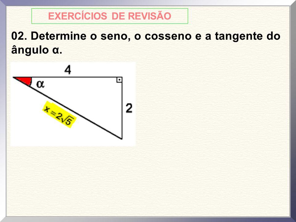 02. Determine o seno, o cosseno e a tangente do ângulo α.
