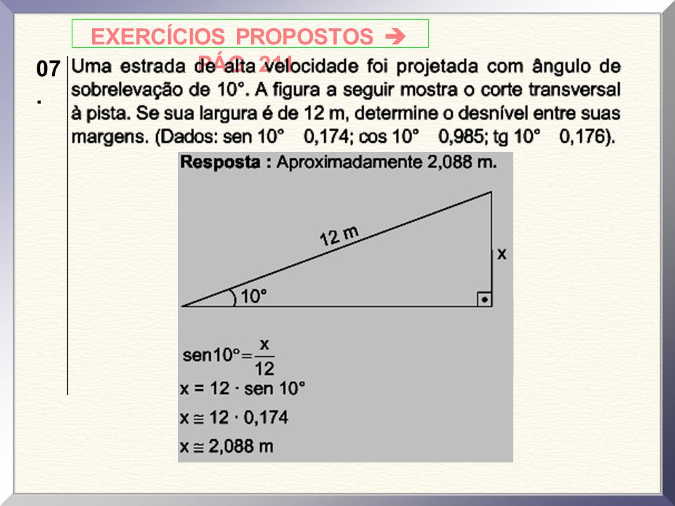 EXERCÍCIOS PROPOSTOS  PÁG. 211.