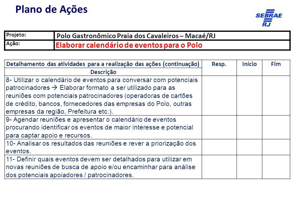 Plano de Ações Elaborar calendário de eventos para o Polo