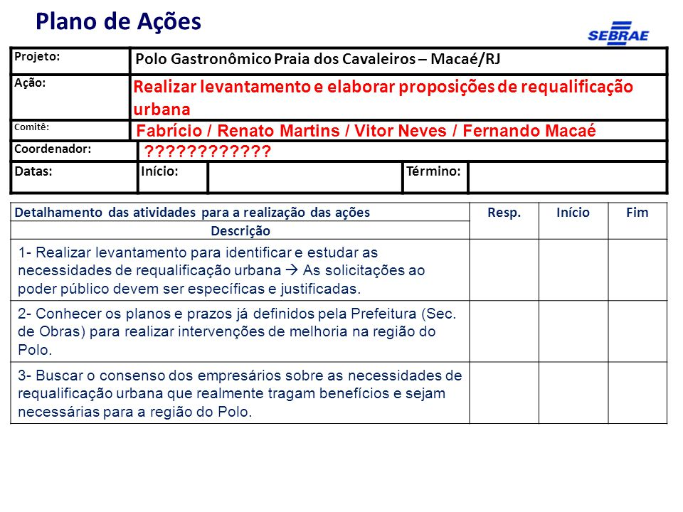 Plano de Ações Projeto: Polo Gastronômico Praia dos Cavaleiros – Macaé/RJ. Ação: