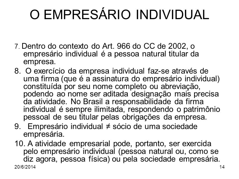 O EMPRESÁRIO INDIVIDUAL
