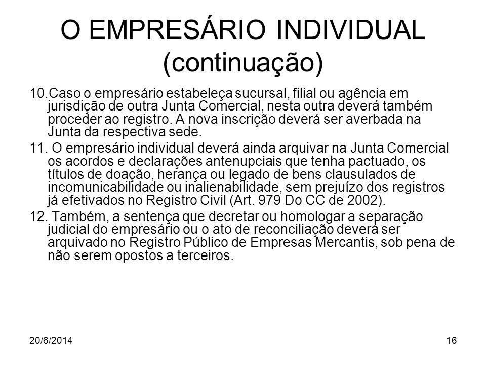 O EMPRESÁRIO INDIVIDUAL (continuação)