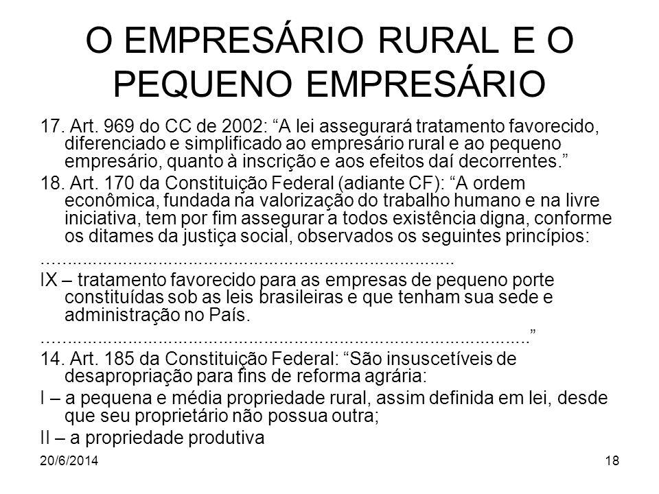 O EMPRESÁRIO RURAL E O PEQUENO EMPRESÁRIO