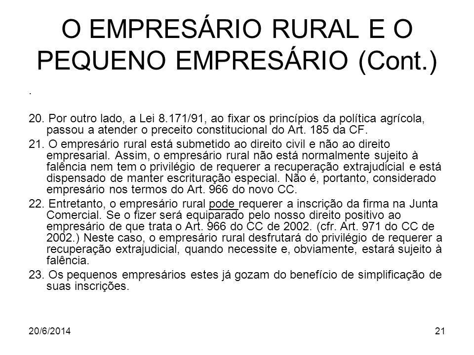 O EMPRESÁRIO RURAL E O PEQUENO EMPRESÁRIO (Cont.)